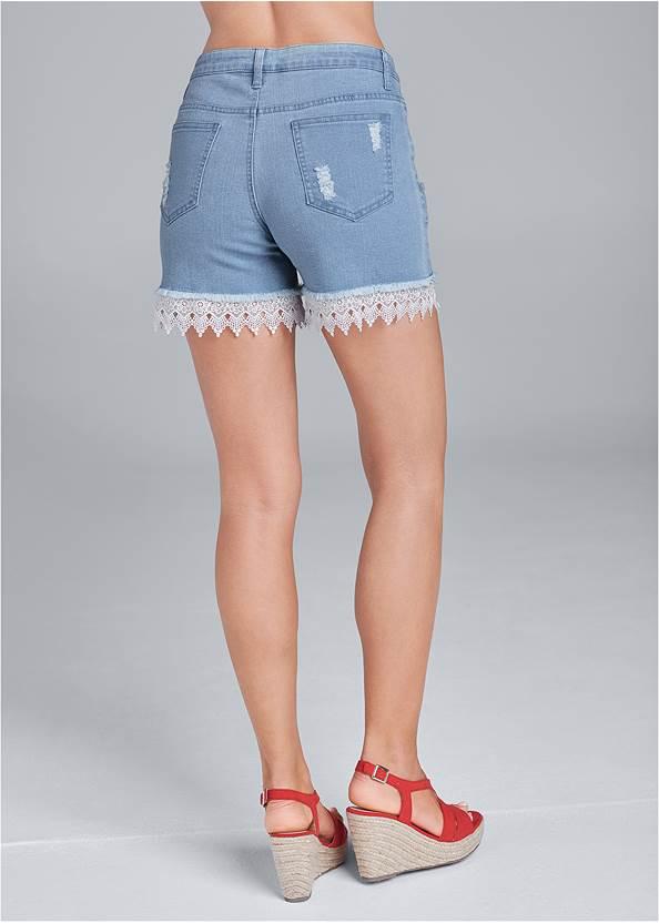 Back View Lace Trim Jean Shorts