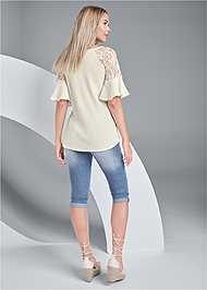 Full back view Waffle Knit Lace Top
