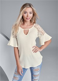 Front View Waffle Knit Lace Top