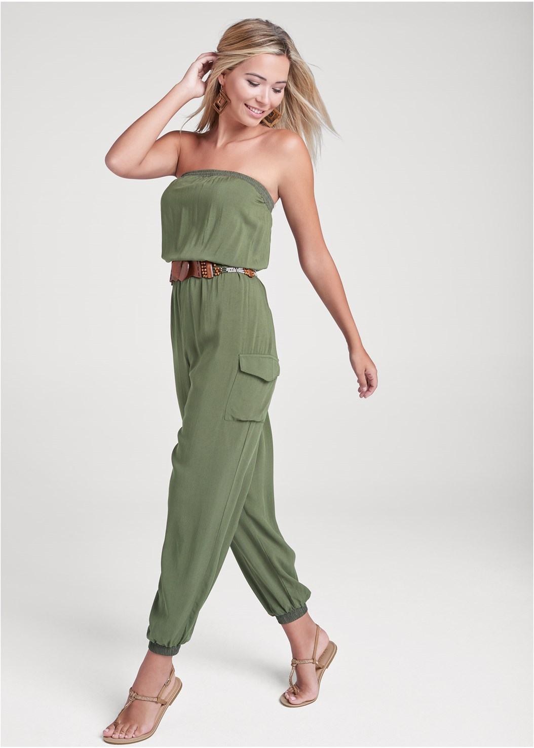 Strapless Utility Jumpsuit,Wood Earrings