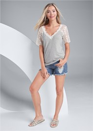 Front View Lace Sleeve V-Neck Top