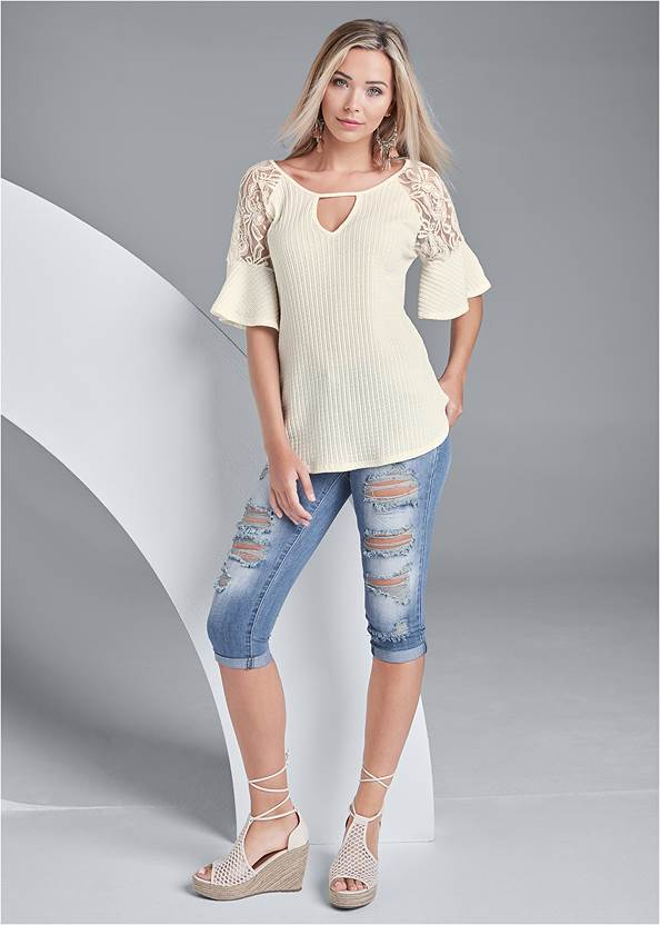 Full front view Waffle Knit Lace Top