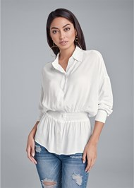 Front View Smocked Button Front Casual Blouse