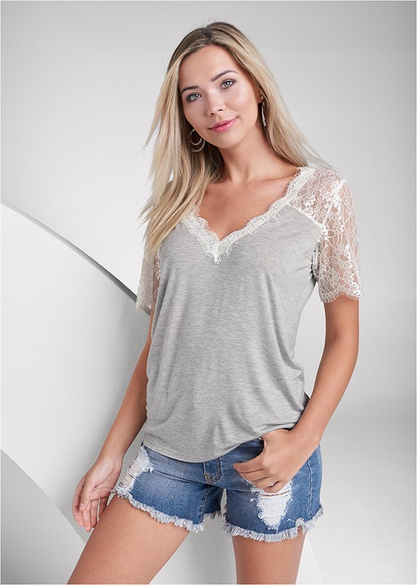 Lace Sleeve V-Neck Top,Distressed Jean Shorts,Strapless Bra With Geo Lace,Beaded Hoop Earrings