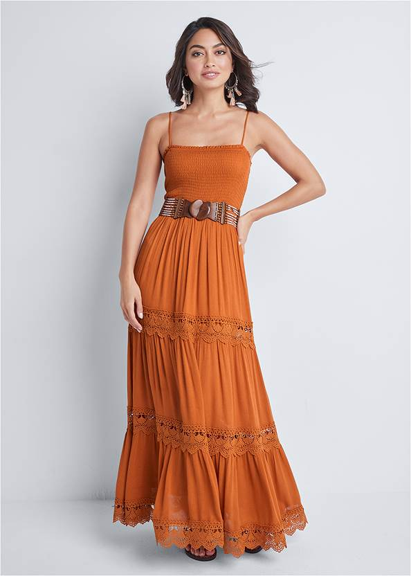Front View Tiered Smock Maxi Dress