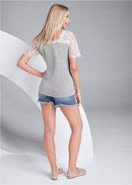 Back View Lace Sleeve V-Neck Top