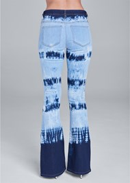 Back View Tie Dye Wide Leg Jeans