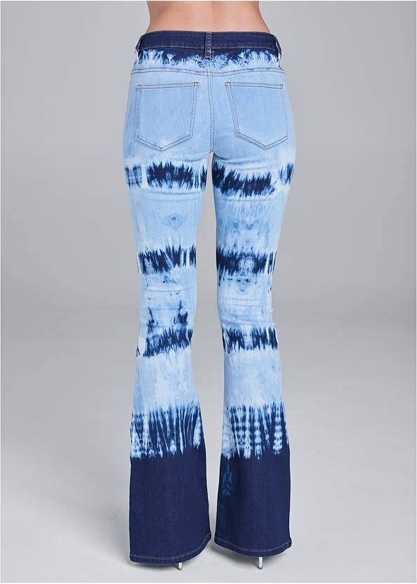Back View Tie Dye Wide Leg Jeans