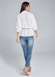 Back View Smocked Button Front Casual Blouse