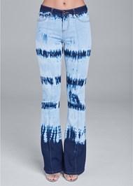 Front View Tie Dye Wide Leg Jeans