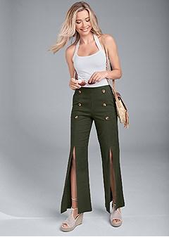 front slit linen pants