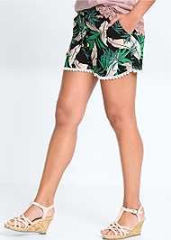 Waist down front view Palm Printed Shorts