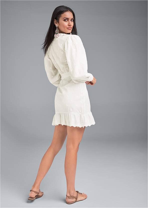 Back View Eyelet Wrap Mini Dress
