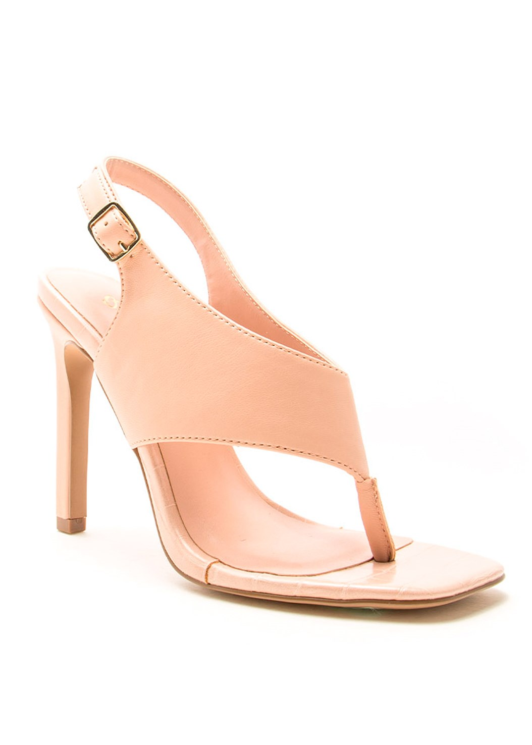 Square Toe Thong Heel Sandal