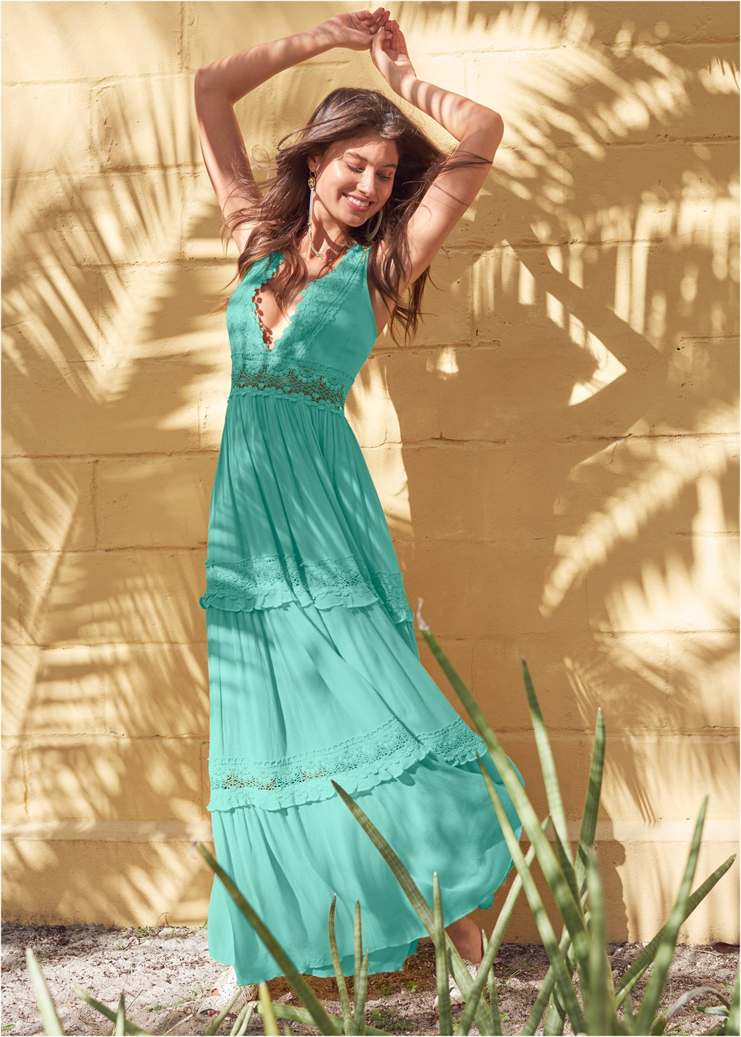 Tiered Maxi Dress,Lift It Up Backless And Strapless Plunge,Nubra Ultralite,Oversized Tassel Earrings,Beaded Crossbody