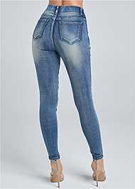 Detail front view Elastic Waistband Jeans