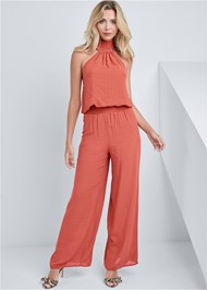 Front View Smocking Detail Jumpsuit