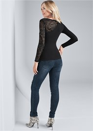 Full back view Long Sleeve Lace Top