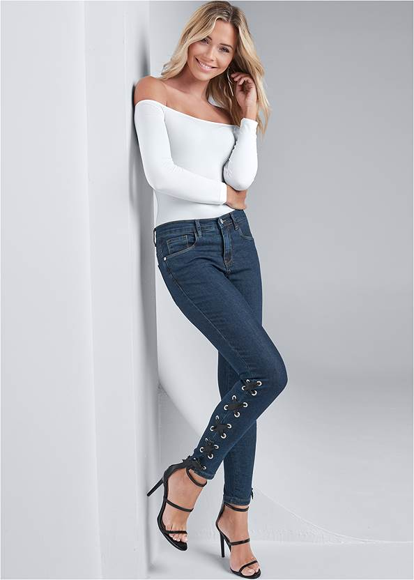 Lace Up Detail Jeans,Off The Shoulder Top,Illusion Mesh Bodysuit,Jean Jacket,High Heel Strappy Sandals