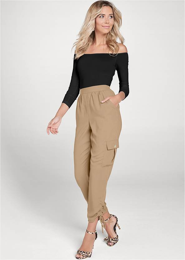 Lightweight Cargo Pants,Off-The-Shoulder Top,Basic Cami Two Pack,High Heel Strappy Sandals,Lace Thong 3 For $19,Layered Long Necklace,Mixed Earring Set,Cropped Puff Sleeve Denim Jacket,Leopard Fringe Crossbody