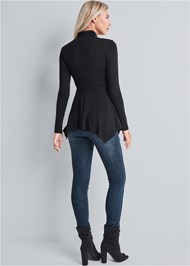 Back View Embellished Mock Neck Top