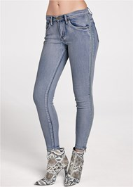 Front View Side Zipper Jeans
