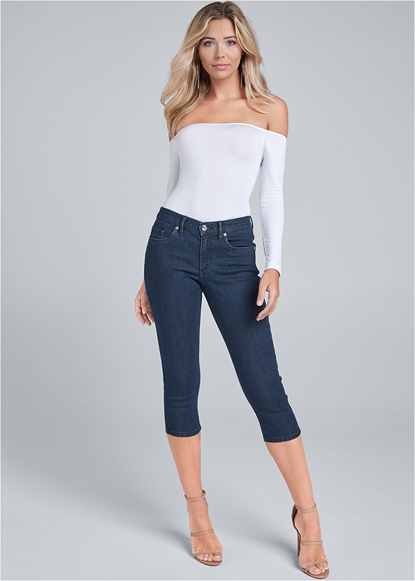 Color Capri Jeans,Off The Shoulder Top,High Heel Strappy Sandals,Lucite Strap Heels