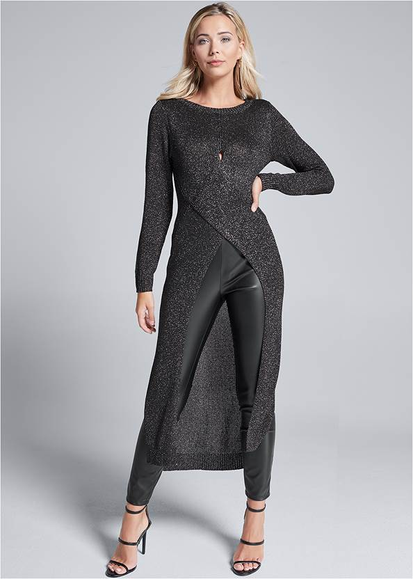 Cross Front Maxi Sweater,Faux Leather Leggings,Mid Rise Slimming Stretch Jeggings,Studded Over The Knee Boots,High Heel Strappy Sandals,Mixed Earring Set