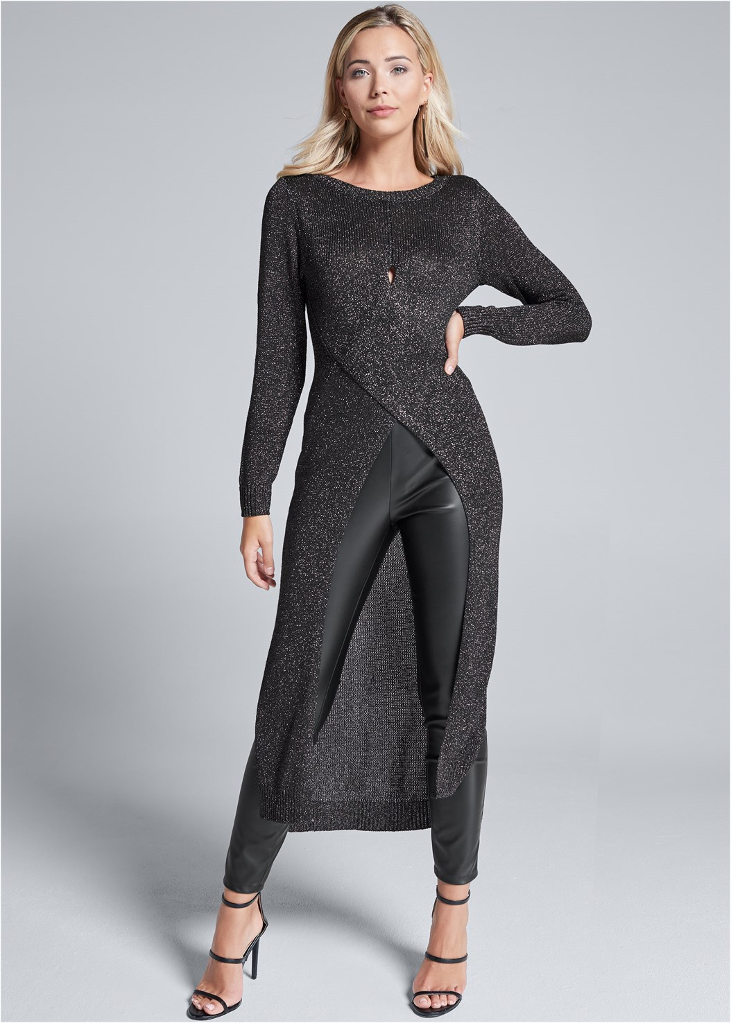 Cross Front Maxi Sweater,Mid Rise Full Length Slimming Stretch Jeggings,Faux Leather Leggings,Studded Over The Knee Boots,High Heel Strappy Sandals,Mixed Earring Set,Beaded Hoop Earrings