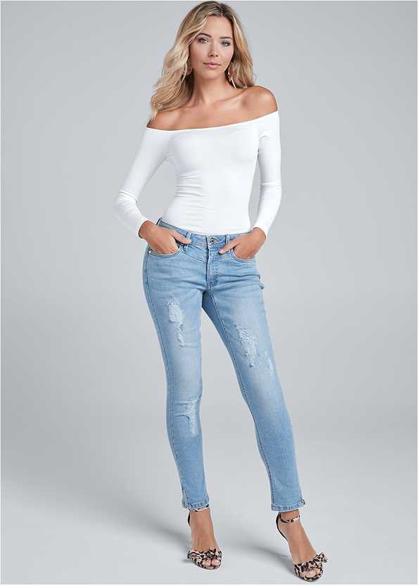 Ripped Cropped Jeans,Ribbed V-Neck Top,Cold Shoulder Top,Lucite Ankle Wrap Wedge,Oversized Tassel Earrings,Python Clutch