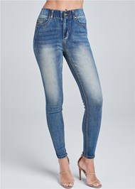 Waist down front view Elastic Waistband Jeans