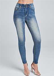 Waist down back view Elastic Waistband Jeans