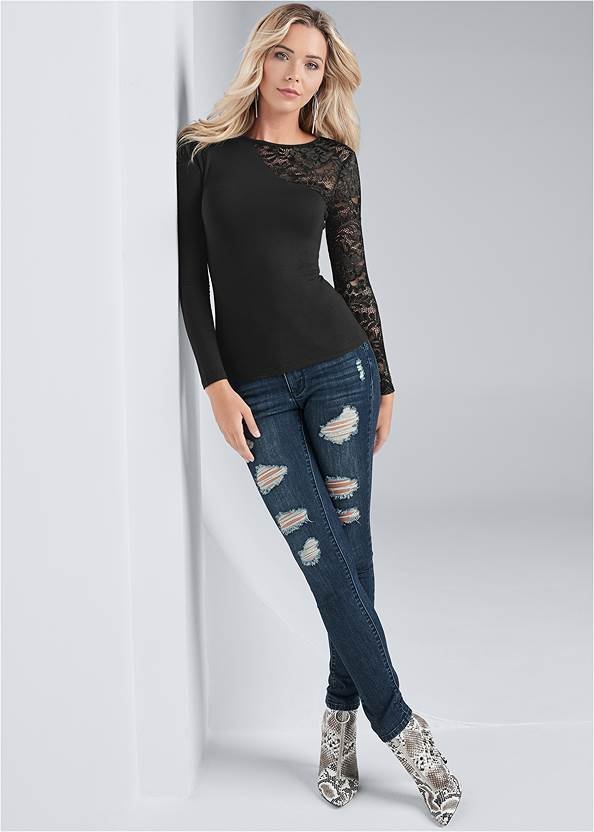 Full front view Long Sleeve Lace Top