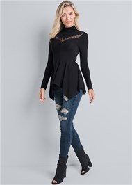Alternate View Embellished Mock Neck Top