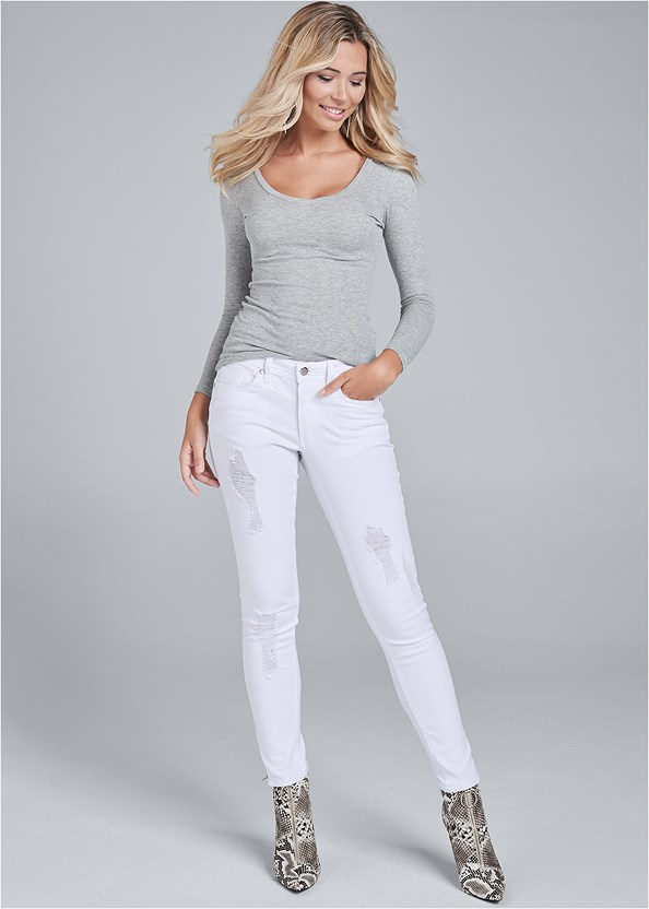 Ripped Cropped Jeans,Ribbed V-Neck Top,Cold Shoulder Top