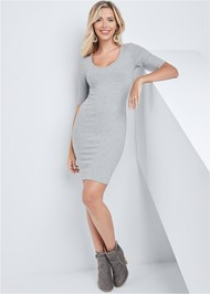 Back View Scooped Neck Ribbed Dress
