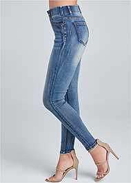 Waist down side view Elastic Waistband Jeans