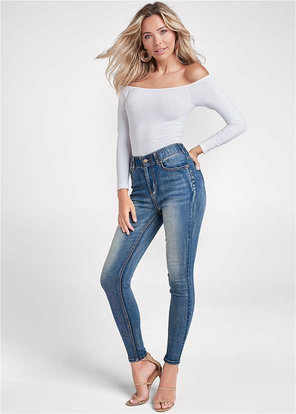 Elastic Waistband Jeans,Off The Shoulder Top,High Heel Strappy Sandals