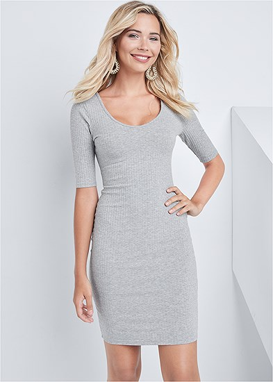 Scooped Neck Ribbed Dress