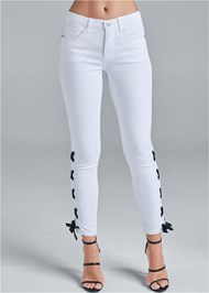 Front View Lace Up Detail Jeans