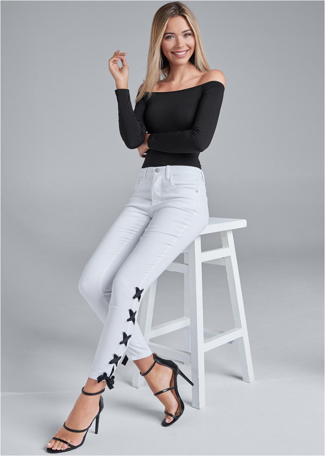 Lace Up Detail Jeans,Off The Shoulder Top,High Heel Strappy Sandals,Flower Detail Heels,Beaded Tassel Earrings