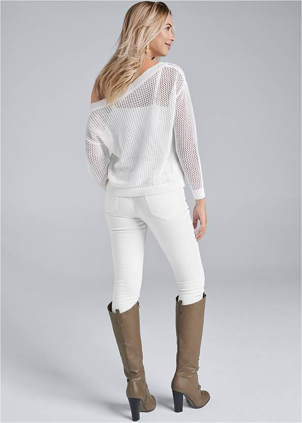 Back View Relaxed Open Knit Sweater