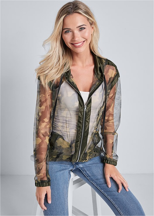 CAMO PRINT MESH JACKET,BUM LIFTER JEANS,EMBELLISHED FANNY PACK