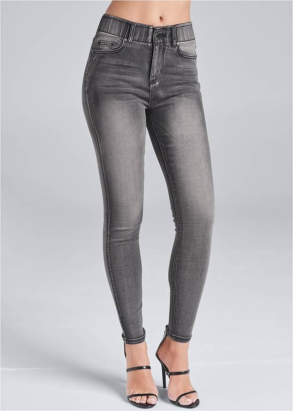 Waist down back view Elastic Waistband Jeans