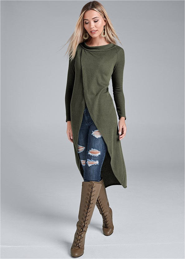 Casual High Low Top,Ripped Bum Lifter Jeans,Basic Leggings,Naked T-Shirt Bra,Lace Up Tall Boots,Beaded Drop Earrings