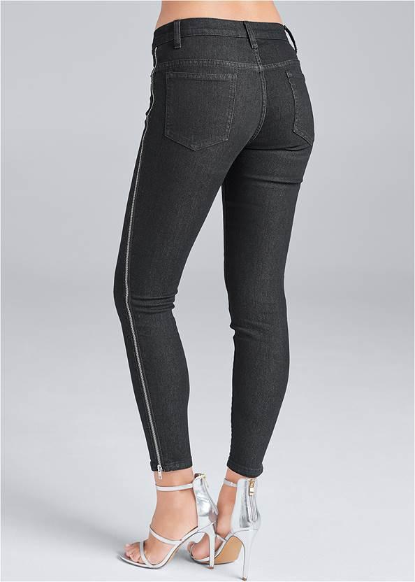 Back View Side Zipper Jeans