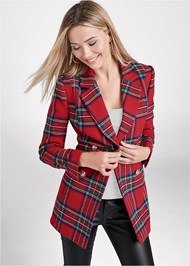 Cropped front view Plaid Blazer