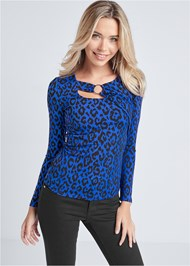 Front View Leopard Print Ring Top
