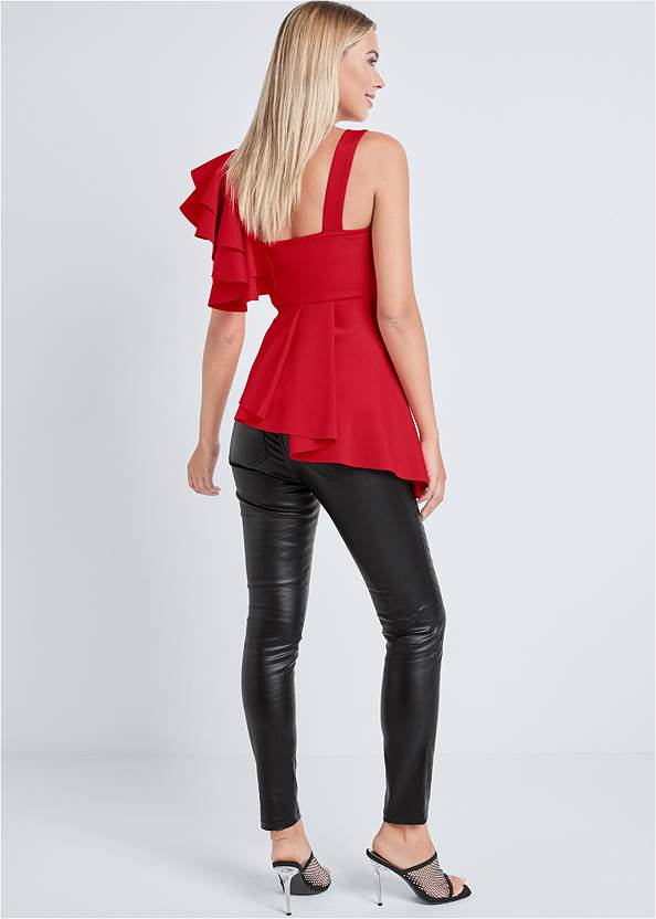 Back View Ruffle One Shoulder Top