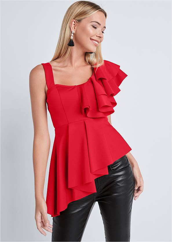 Front View Ruffle One Shoulder Top